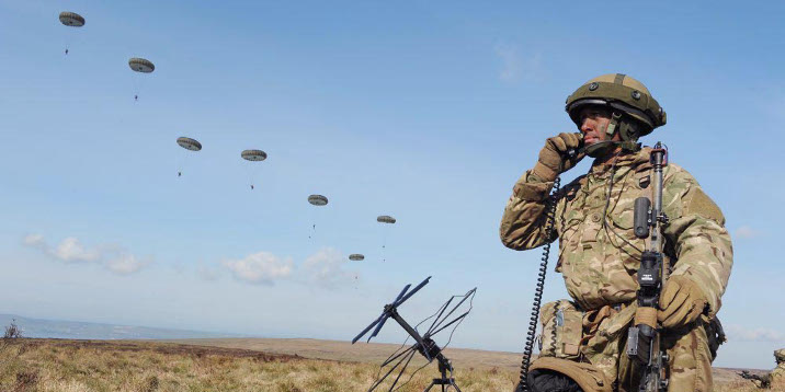 "A Forward Controller brings the paratroopers from 3 PARA in to West Freugh, Scotland during a drop from a French Air Force C160 aircraft. Soldiers from 16 Air Assault Brigade are training to maintain their role as the British Army's Rapid Reaction Force. More than 1600 troops taking part in Exercise Joint Warrior in southwest Scotland. The training is a key step in maintaining the skills necessary for the Airborne Task Force (ABTF) role, which sees the Colchester-based 16 Air Assault Brigade ready to deploy anywhere in the world at five days notice. The exercise scenario sees the area of West Freugh airfield representing part of an area disputed by two fictional nations named Pastonia and Dragonia, which are divided by economic and ethnic factors. The scenario represents complex challenges for the international community requiring NATO to send a rapid intervention force to the area to create the conditions for a United Nations peacekeeping force to take control. The UK's ABTF used a combination of parachute, air assault, and tactical air landings to rapidly insert the troops into the disputed area. Once inserted the ABTF, based around the Argyll and Sutherland Highlanders, 5th Battalion The Royal Regiment of Scotland (5 SCOTS) Battle Group, continued to defend the airfield. The Battle Group also developed the airfield into a base from which several air assault operations could be launched to defeat the enemy force, create stable conditions for the population, and potentially evacuate UK civilians. Lieutenant Colonel Neil Den-McKay, Commanding Officer 5 SCOTS explained: ""The ABTF is a light by design, powerful and highly capable taskforce, designed for operations anywhere in the world. The training to undertake this role is incredibly cPhotographer: MARK Owens Image 45153890.jpg from www.defenceimages.mod.uk For latest news visit: www.mod.uk Follow us: www.facebook.com/defenceimages www.twitter.com/defenceimages"